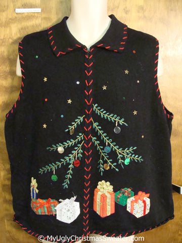 Cheap Black Christmas Sweater Vest with Tree and Gifts