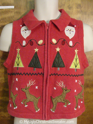 CHILD size Fun Cheap Christmas Sweater Vest with Reindeer