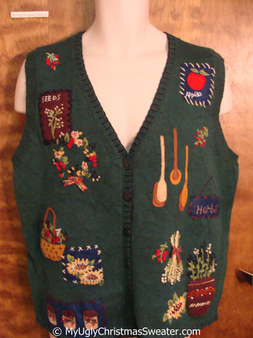 Wreath and Garden Themed Cheap Christmas Sweater Vest