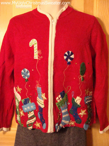 Tacky Cheap Ugly Christmas Sweater with Festive Brilliant Stockings (f513)