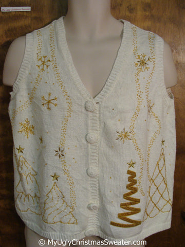 Cheap 2sided Golden Trees Christmas Sweater Vest