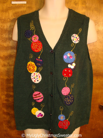 Cheap Green Christmas Sweater Vest with Ornaments