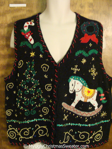 Fun Bling Cheap Christmas Sweater Vest with Rocking Horse