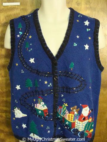 Santa and Toy Train Cheap Christmas Sweater Vest