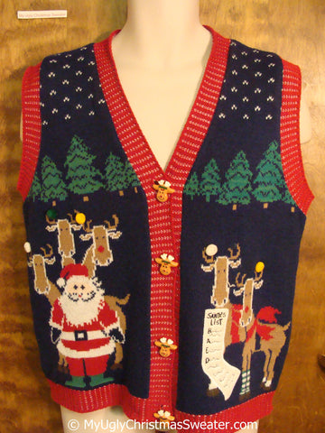 Holy Grail Best Christmas Sweater Vest with Reindeer on 2sides