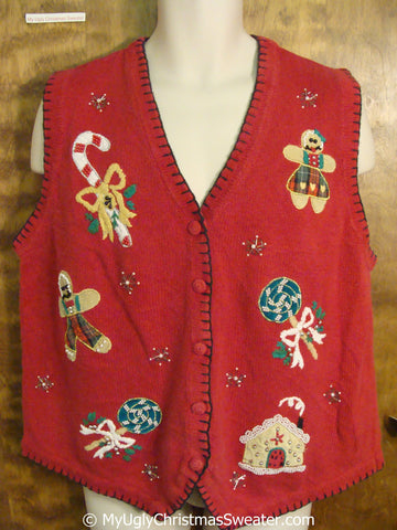 Cheap Christmas Sweater Vest with Gingerbread Men