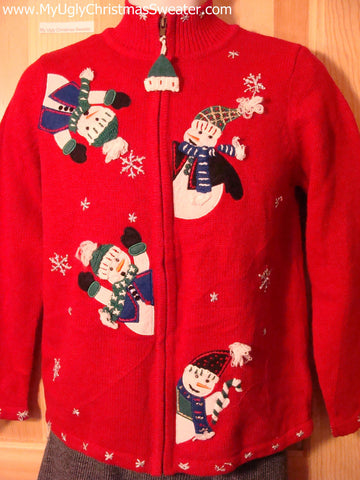 Tacky Cheap Ugly Christmas Sweater with Festive Tumbling Carrot Nosed Snowmen (f514)