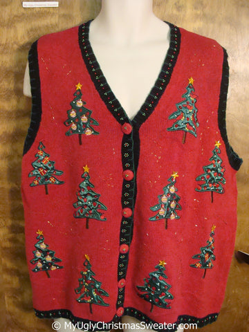 Cheap Red and Green Christmas Sweater Vest with Trees