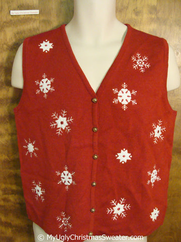 Cheap Red Christmas Sweater Vest with Snowflakes