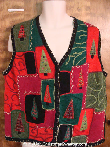 Patchwork Trees Cheap Christmas Sweater Vest