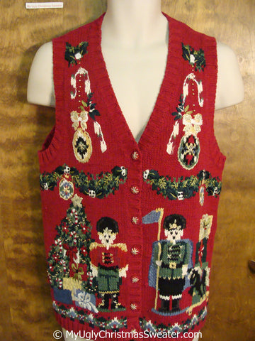80s Gem Red Christmas Sweater Vest with Nutcrackers