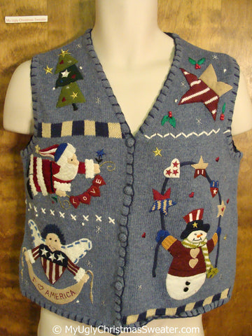 Patriotic Red White and Blue Christmas Sweater Vest