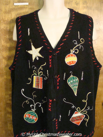 Cheap Black Christmas Sweater Vest with Ornaments