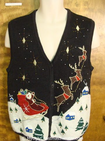Santa and Flying Reindeer Christmas Sweater Vest