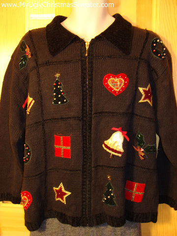 Tacky Cheap Ugly Christmas Sweater with Zipper Front and Bling Bead Accents on Festive Holiday Designs (f515)