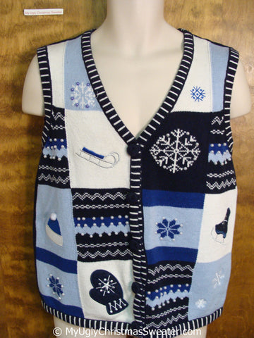 Crafty Blue Cheap Christmas Sweater Vest