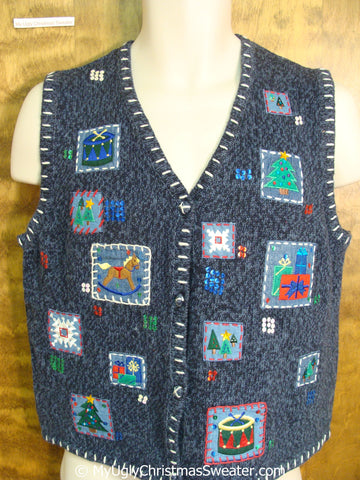Crafty Patchwork Cheap Christmas Sweater Vest