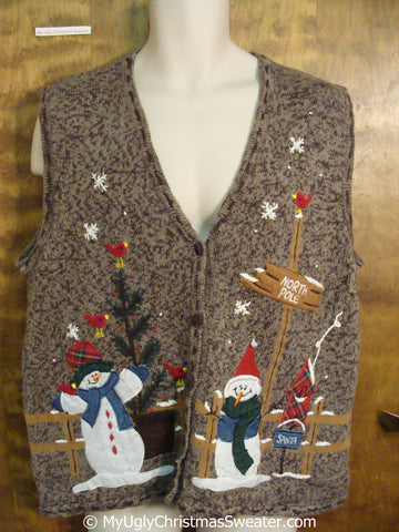 Brown Cheap Christmas Sweater Vest with Snowmen and Bird