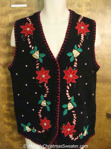 Cheap Black and Red Poinsettias Christmas Sweater Vest