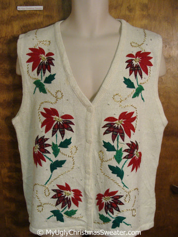 Cheap Christmas Sweater Vest with Poinsettias
