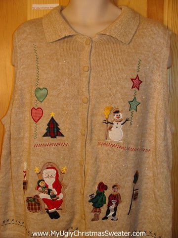 Tacky Cheap Ugly Christmas Sweater Vest with Santa and Kids with Christmas Lists (f516)