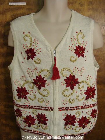 Cheap Poinsettias with Tassle Trim Christmas Sweater Vest