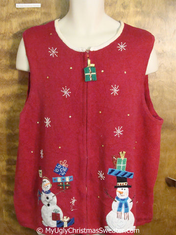 Cheap Red Christmas Sweater Vest with Snowmen