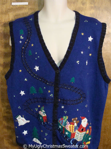 Santa and a Toy Train Cheap Christmas Sweater Vest