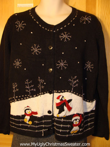 Tacky Cheap Ugly Christmas Sweater with Festive Penguins (f517)