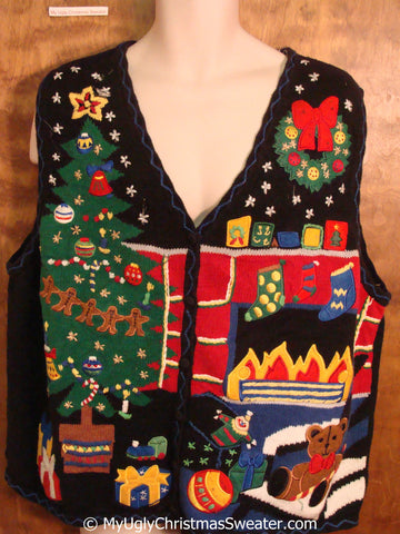 Best 80s Colorful Busy Christmas Sweater Vest