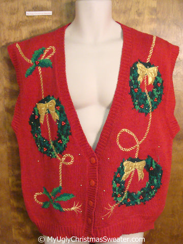 Cheap 80s Wreath Themed Christmas Sweater Vest
