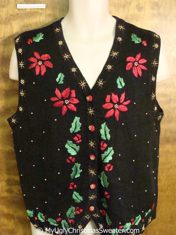 Cheap Poinsettias and Ivy Themed Christmas Sweater Vest