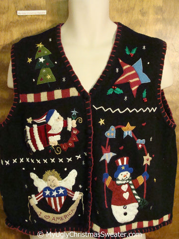 Patriotic Christmas Sweater Vest with Angel and Santa
