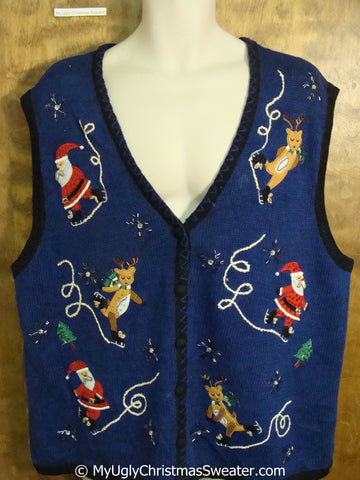 Funny Skating Reindeer and Santas Christmas Sweater Vest