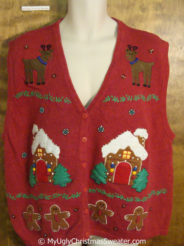 Gingerbread and Reindeer Christmas Sweater Vest