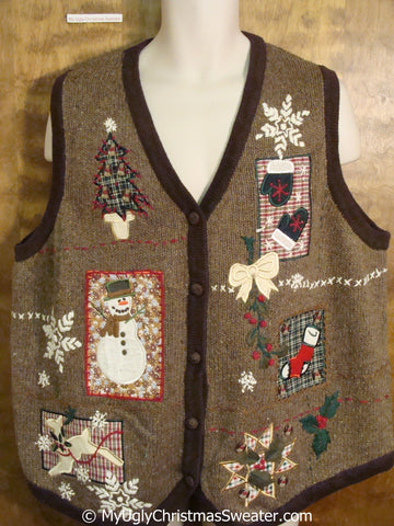 Horrible 80s Brown Big Size Christmas Sweater Vest