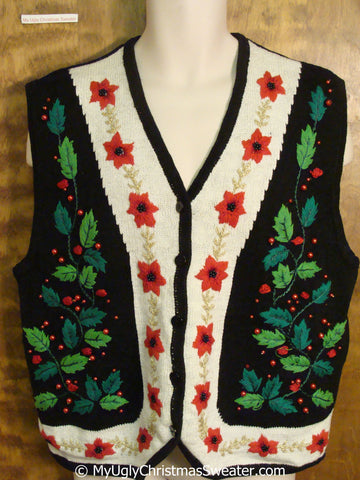 Cheap Big Size Christmas Sweater Vest with Ivy