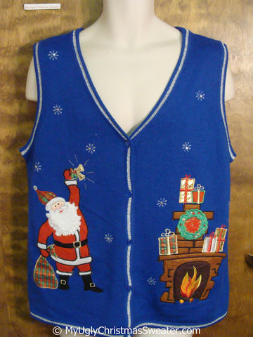 Santa Ringing a Bell Christmas Sweater Vest