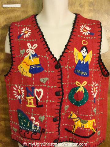 80s Angel, Horse and NOEL Themed Christmas Sweater Vest
