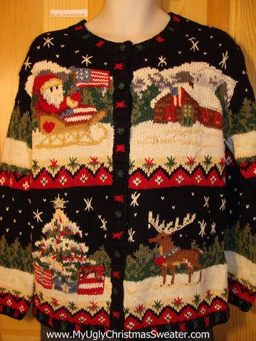 Tacky Cheap Ugly Christmas Sweater with Santa and Rudolph the Red Nosed Reindeer (f519)