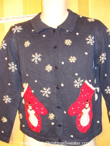 Tacky Ugly Christmas Sweater with Real Mitten Pockets (f51)