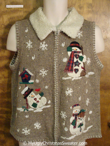 Brown Ugly Christmas Sweater Vest with Fluffy Collar