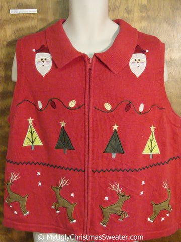Leaping Reindeer Red Ugly Christmas Sweater Vest