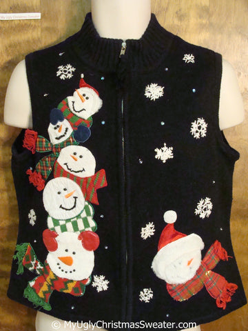 Fun Snowmen Piled High Ugly Christmas Sweater Vest