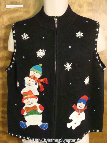 Stacked Snowmen Ugly Christmas Sweater Vest