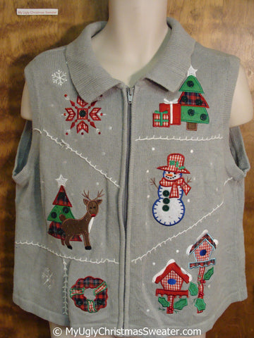 Plaid Accents 80s Ugly Christmas Sweater Vest