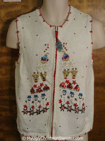 Sequin and Bead Bling Ugly Christmas Sweater Vest