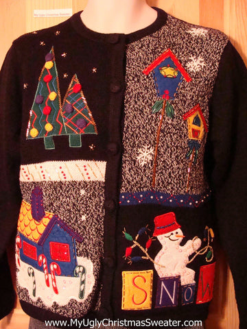 "Tacky Cheap Ugly Christmas Sweater with Snowman ""SNOW"", Plaid Tree, Candy Cane Yard, and Birdhouses (f520)"