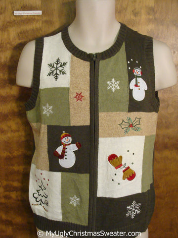 Patchwork Festive Ugly Christmas Sweater Vest