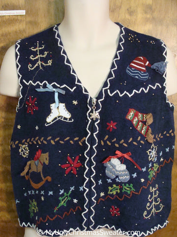 Ugly Christmas Sweater Vest with Zig Zag Trim